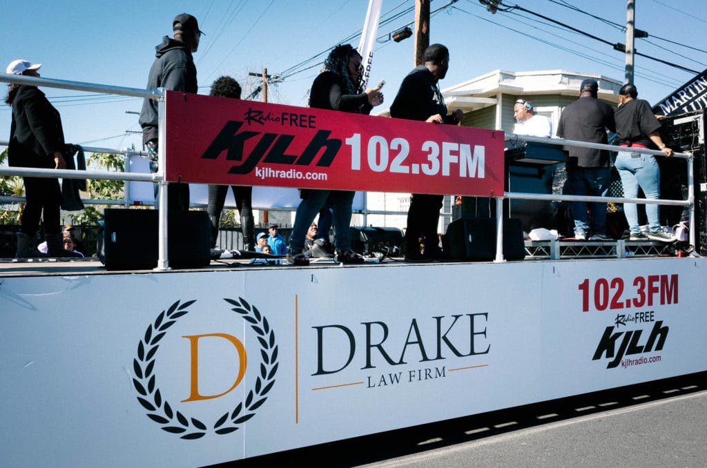 KJLH Radio Float sponsored by Drake Law Firm