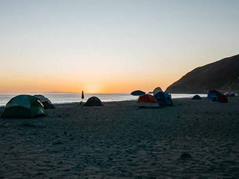 sunset at Malibu camp site